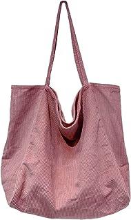 Ulisty Damen Groß Cord Tragetasche Retro Schultertasche Beiläufig Einkaufstasche Mode Handtasche Rosa