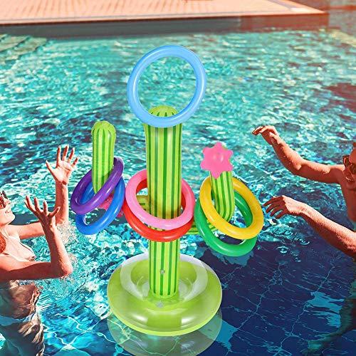 Goodtimera 5 Stück Aufblasbares Kaktus Ring Wurf Spiel Set Schwimmender Schwimmring Wurf Beinhaltet 1 Stück Aufblasbaren Kaktus, 4 Stücke Farbe Aufblasbare Ringe