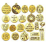 40pcs Antique Gold Inspiration Words Charms Craft Supplies Beads Charms Pendants for Jewelry Making Crafting Findings Accessory for DIY Necklace Bracelet (M511)