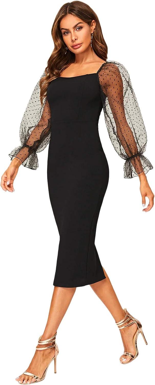 SheIn Women's Elegant Mesh Contrast Long Bishop Sleeve Bodycon Pencil Dress