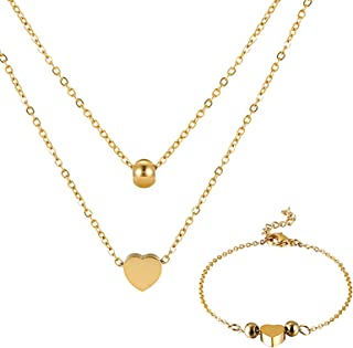 PRUXA Pendant Layered Necklaces and Bracelet set,24K Gold Dainty Bar Pendant Layered Fashion Shiny Heart Set Choker Neckla...