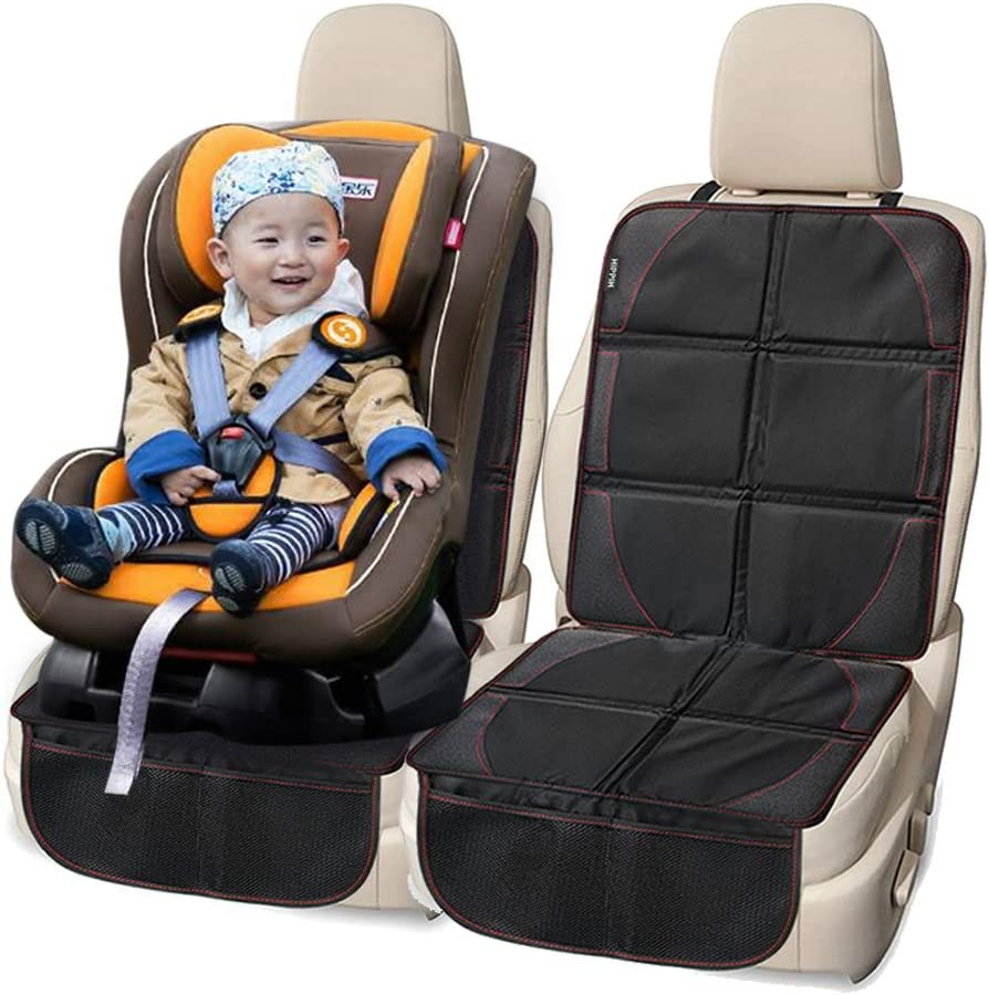 FLR 2 Pcs Car Seat Protector Black Waterproof Universal Foldable Car Seat Cover Protector Dog Mat with Thickest Padding for Child & Baby Cars Seats