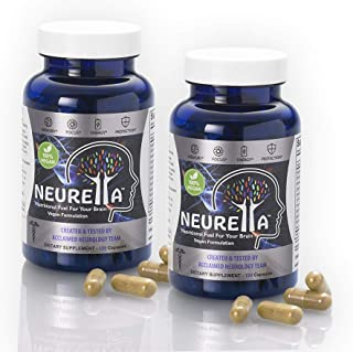 2X Neurella Extra Strength Vegan Brain Supplement – Powerful Brain Food & Memory Booster. Improve Focus, Clarity & Energy. Mental Performance Nootropic – Nutritional Vegetarian Brain Fuel.