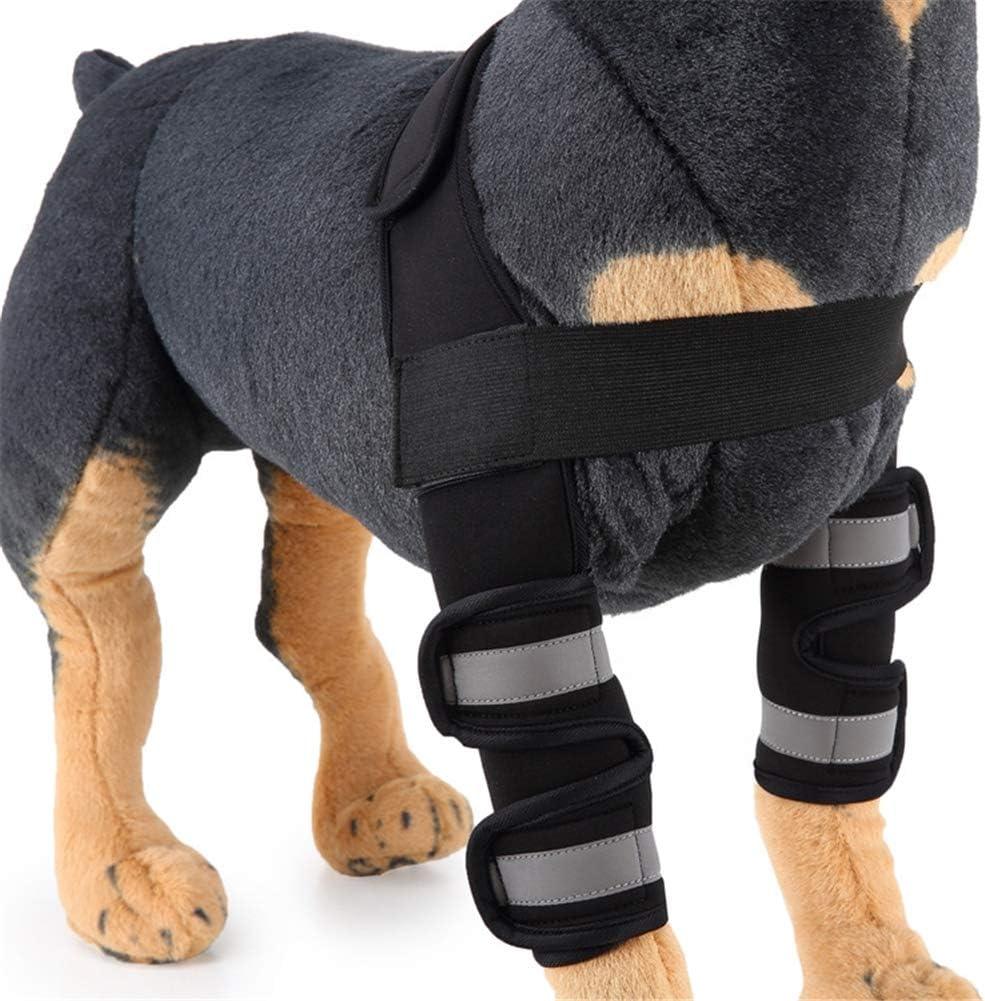 ZFFLYH Reflectante para Mascotas Codera, Perro Aparato Ortopédico de Pierna, Perro Protector del Codo, Perro Manga de La Pierna (1Pair),Hj16 Black Reflective,L