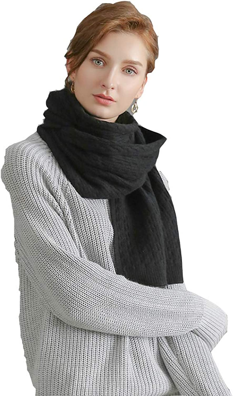 Scarves Scarf Female Winter Scarf Warm Thick Scarf Wild Scarf Dualuse Scarf Solid color Scarf Multifunctional Scarf Cold Weather Scarves (color   Black, Size   200  40  0.3cm)