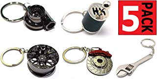 GT//Rotors Five Piece Auto Parts Metal Key Chain Set - Spinning Turbo Keychain, Six Speed Manual Gearbox Keychain, Wheel T...