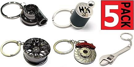 GT//Rotors Five Piece Auto Parts Metal Key Chain Set - Spinning Turbo Keychain, Six Speed Manual Gearbox Keychain, Wheel Tire Rim Keychain, Red Brake Rotor Keychain, Silver Wrench Keychain