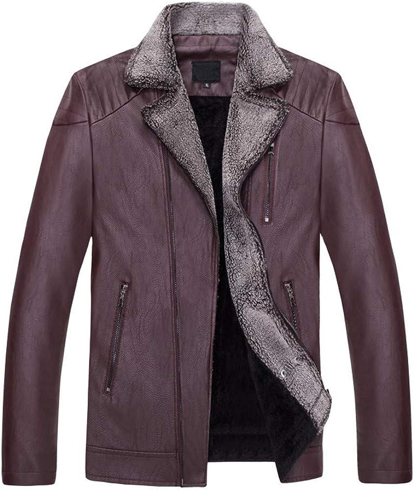 MODOQO Men's PU Leather Zipper Jacket Turn Down Collar Coat Outwear Winter