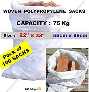 100 bolsas de polipropileno de doble costura, resistentes,