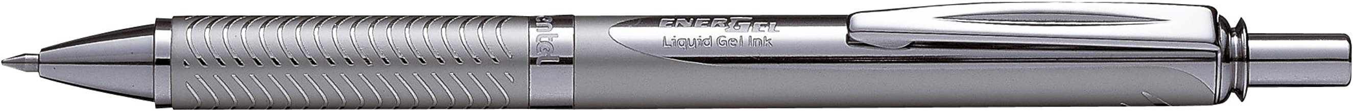 Pentel BL407A EnerGel Alloy RT Retractable Liquid Gel Pen.7mm, Chrome Barrel, Black Ink