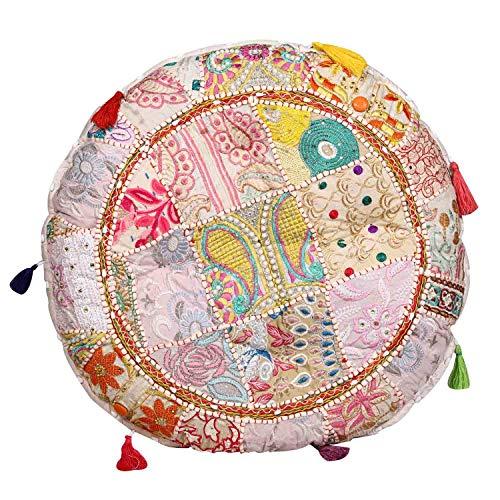 Casa Moro XL Patchwork Yogakissen Lali Mittel Beige Ø 55cm x Höhe 10cm rund mit Füllung | Indisches Sitzkissen Bodenkissen orientalisches Chillkissen im Boho Style | MA1707