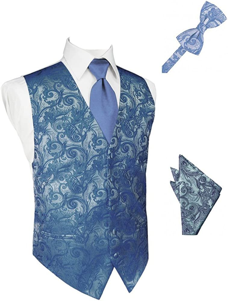 Periwinkle Tapestry Satin Tuxedo Vest with Long Tie Bowtie and Pocket Square Set