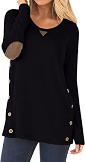 Women's Casual Long Sleeve Faux Suede Loose Tunic Button Blouses Shirt Tops