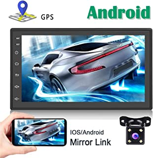 Android Car Stereo GPS Navigation 2 Din Bluetooth WiFi 7'' Capacitance Touch Screen FM Radio Reciever Mirror Link for iOS/Android Phones with Dual USB + Backup Camera