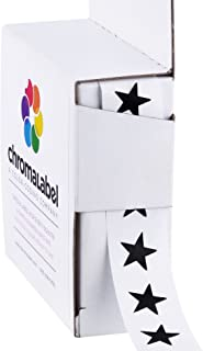 ChromaLabel 3/8 inch Color-Code Star Labels | 1,000/Dispenser Box (Black)