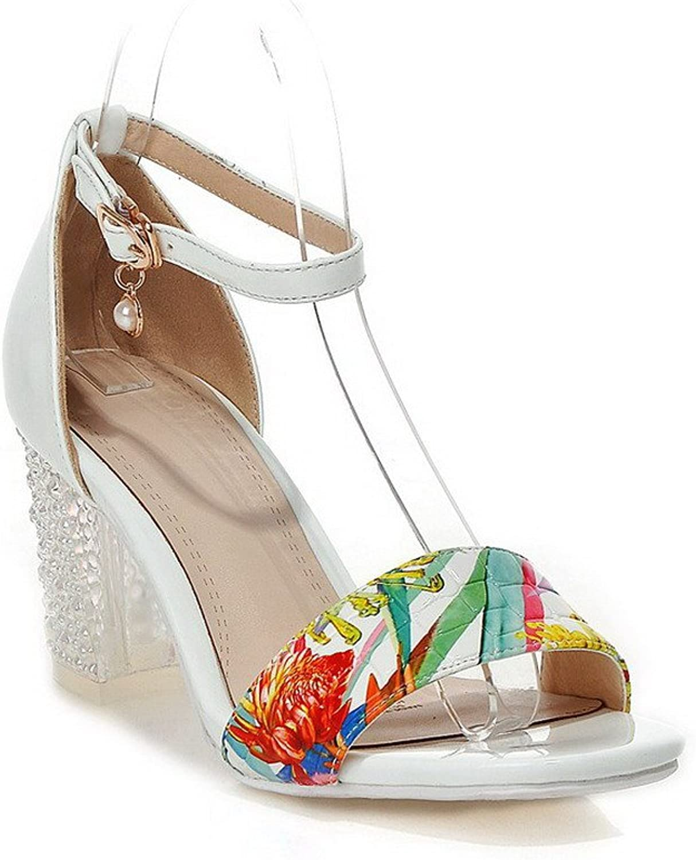 AmoonyFashion Women's Open Toe Buckle Microfiber Solid High Heels Sandals