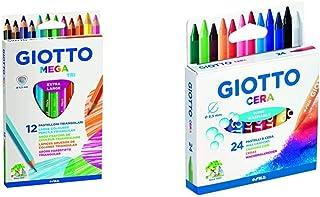 Giotto 220600, Gio Mega-Tri Astuccio 12 Maxi Pastelloni Colorati & 282200, Pastelli A Cera In Astuccio Da 24 Colori
