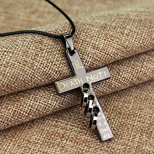 Haushele OFD Anime Death Note Kreuz Anhänger Leder Seil Halskette Peripheriegeräte Produktkollektion Dekoration