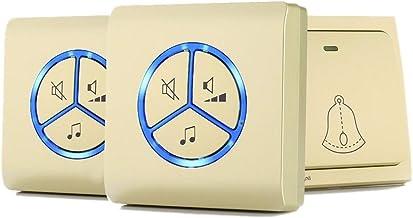 Externe deurbel Draadloze deurbelkit met 25 melodie 4-level volume en led-flash-knop Zelfvermogen Generatie Geen batterij ...