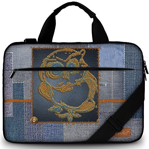 Luxburg 17.3 inch Laptop Bag Case Canvas Shoulder Bag with Handle - Denim Owl