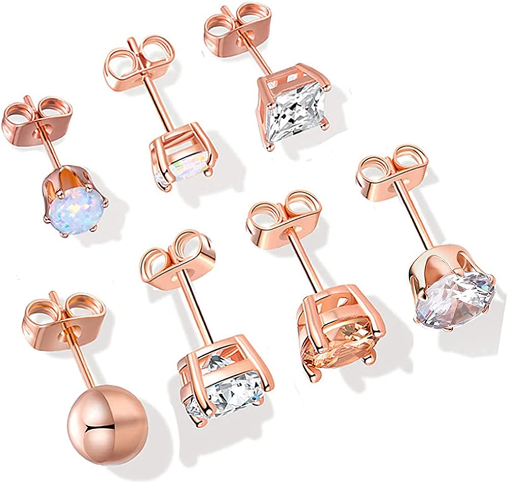 Hypoallergenic Pack of Earrings for Women Men 18K Rose Gold Plated Multipack Earringssimple Opal CZ Cubic Zirconia Pierced Post Sensitive Studs Pack 7 Pairs