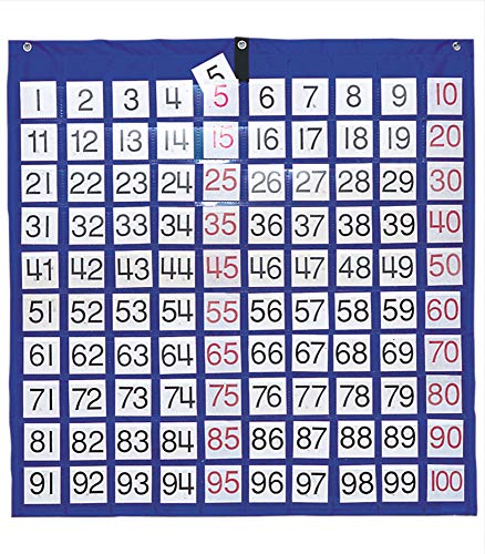 """Carson Dellosa Hundreds Pocket Chart—Blue Organizer With 100 Pockets and Number Cards, Counting, Adding, Multiplying Interactive Math Learning (26"""" x 26"""")"""