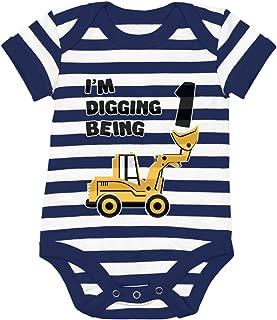 Tstars 1st Birthday Bulldozer Construction Infant Boy Baby Bodysuit