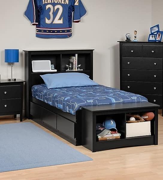 Prepac Sonoma Bookcase Platform Storage Bed With Headboard In Black Twin Twin