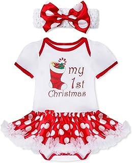 396c224b58d63 YiZYiF Bébé Fille Déguisement Noël Barboteuse de Anniversaire Body Tutu  Combinaison à Manche Courte Romper Costume