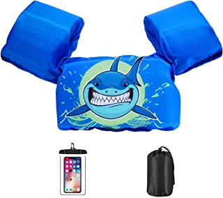AmazeFan Kids Swim Life Jacket Vest for Swimming Pool, Swim Aid Floats with Waterproof Phone Pouch and Storage Bag,Suitable for 30-50 lbs Infant/Baby/Toddler,Children/Sea/Beach