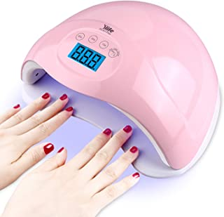Nail Gel Light,48W UV LED Nail Lamp for Both Hands, Portable Nail Dryer with 4 Timers,Automatic Sensor, LCD Screen,Gel Nail Polish Curing Lamp for Fingernails and Toenails,Pink
