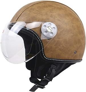 Media Cara Casco Jet Vintage Moto Cuero ECE Certificado para Adultos Mujer y Hombre Retro Scooter Motocicleta Helmet Chopper Cruiser LWAJ Casco Moto Abierto