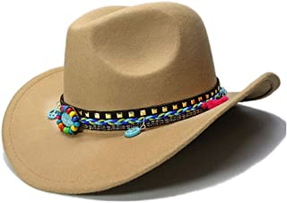 CHENDX High Quality Hat, High End Women's Wool Feeling Cowboy Hat Roll Up Brim Tassel Turquoise Braid Hat Lady Cowgirl Western Fedora Hat (56-58cm) (Color : Khaki, Size : 56-58CM)
