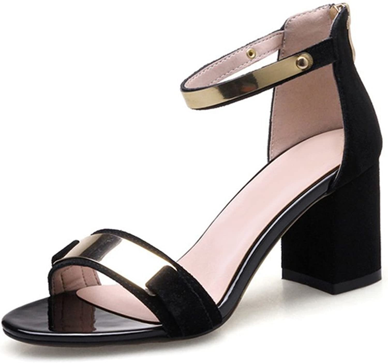 Smilice Women Fashion High Block Heel Open Toe Ankle Strap Leather Sandals Black