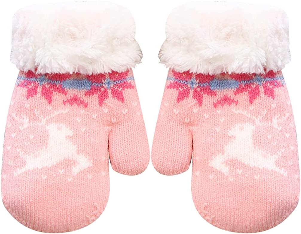 Lnrueg Kids Knit Mittens Unisex Fashion Breathable Winter Mittens Holiday Winter Glovesfor Christmas Holiday Printed