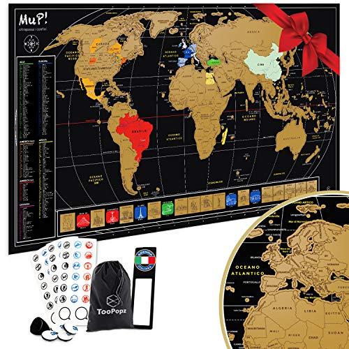 TooPopz Mappa del Mondo da Grattare MuP! 84x44 CM | Design Italiano, Grande Poster Planisfero da Parete, Idee Regalo Originali per Viaggiatori, Cartina Geografica Mondo Panoramica, Scratch Map World