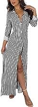 Women's Casual Lapel Button Down Striped Roll up Sleeve Long Maxi Shirt Dress