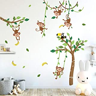 Runtoo Monkey and Tree Wall Decals Animals Jungle Wall Stickers TV Wall Décor for Baby Nursery Kids Bedroom
