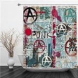 SUHETI Duschvorhang 180x180cm,Grunge Zeitung mit Word Punk & Anarchie,Duschvorhang Wasserabweisend-Duschvorhangringen 12 Shower Curtain mit