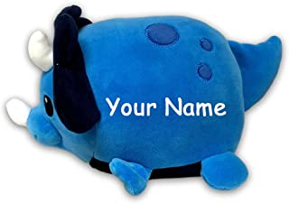 Personalized Lil Huggy Blue Triceratops Dinosaur Plush Stuffed Animal Toy with Custom Name - 10 Inches