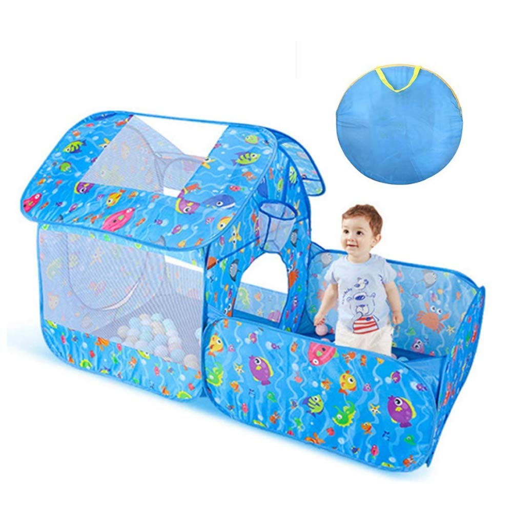 WGXY Tent Pop up Kids Play Tent Portable Playhouse Outdoor Play Children's Party Tents 3-4 Children Indoor Toy House Birthday Gift (Blue)