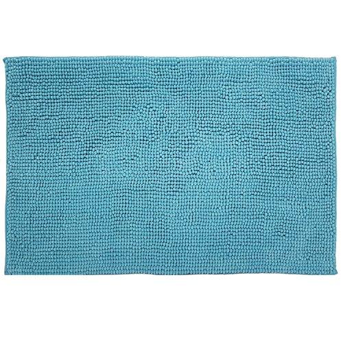 DILUMA Badematte Chenille 70x120 cm Türkis Rutschfester Hochflor Badteppich Wellness Badvorleger Saugfähig und Flauschig