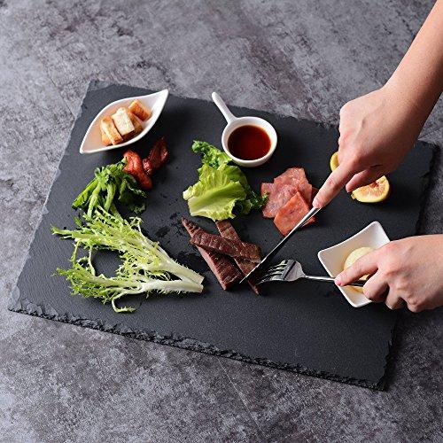 MALACASA, Serie Nature.Slate, 16 Zoll Käse Platte Obstteller Tapas Teller Schiefer Serviertablett (4 tlg. Schiefer Serviertablett)