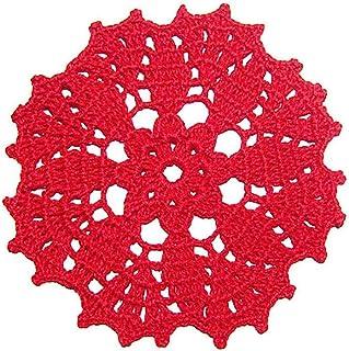 Posavaso rojo de ganchillo para Navidad - Tamaño: ø 13.5 cm - Handmade - ITALY