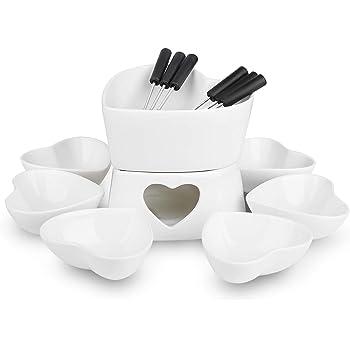 [Bigger Size and Improved] Zen Kitchen Fondue Pot Set, Glazed Ceramic Fondue Set for Chocolate Fondue or Cheese Fondue – Perfect Gift Idea for Housewarming or Birthday Gift (White)