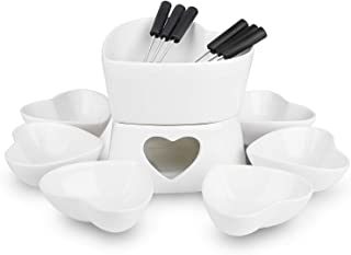 [Bigger Size and Improved] Zen Kitchen Fondue Pot Set, Glazed Ceramic Fondue Set for Chocolate Fondue or Cheese Fondue – Perfect Gift Idea for Housewarming or Birthday Gift (White)