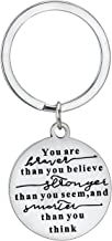 BESPMOSP You are Braver Stronger Smarter Than You Believe Pendant Keychain Inspirational Gifts Key Chain for Teenager