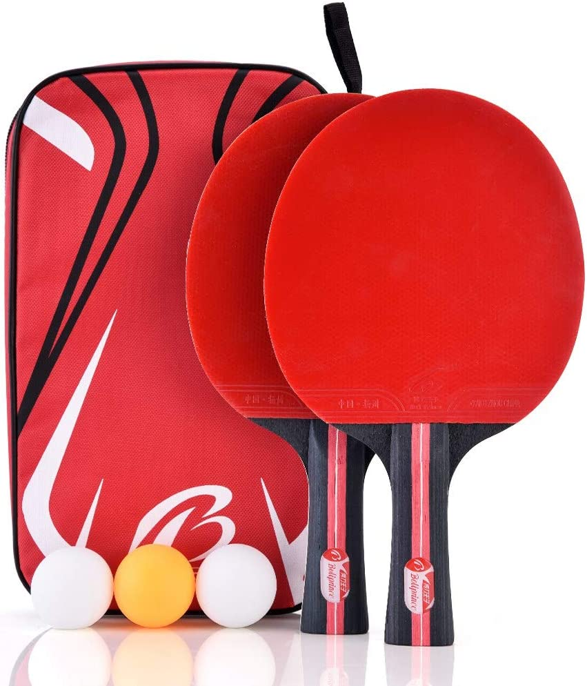 VGEBY1 Ping Pong Paddle Set, 2-Player Table Tennis Racket 3 Tabl