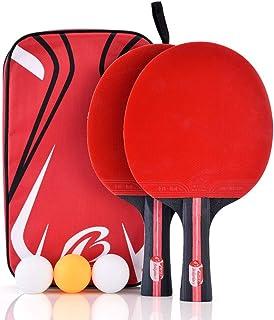 VGBEY Juego de Raquetas de Tenis de Mesa, paletas de Ping Pong para 2 Jugadores Bate de Tenis de Mesa con 3 Pelotas de Tenis de Mesa