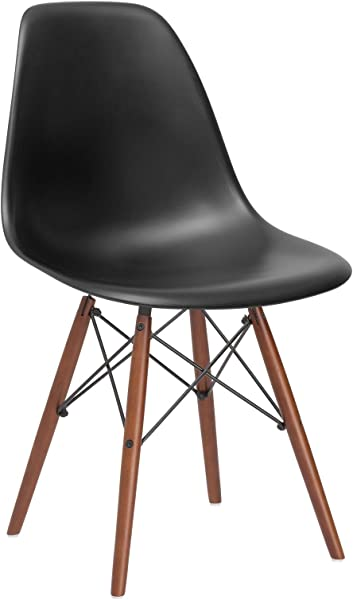 Poly And Bark Vortex Modern Mid Century Side Chair With Wooden Walnut Legs For Kitchen Living Room And Dining Room Black
